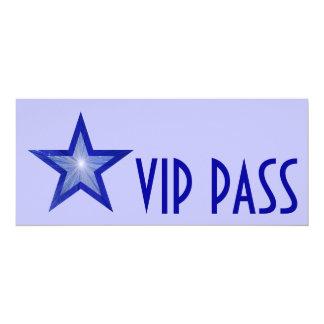 Dark Blue Star 'VIP PASS' pale blue long Card
