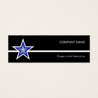 Dark Blue Star white line black skinny Mini Business Card