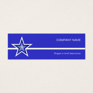 Dark Blue Star white line blue skinny Mini Business Card