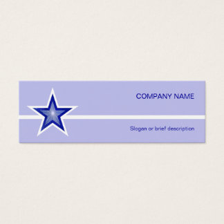 Dark Blue Star white line pale blue skinny Mini Business Card