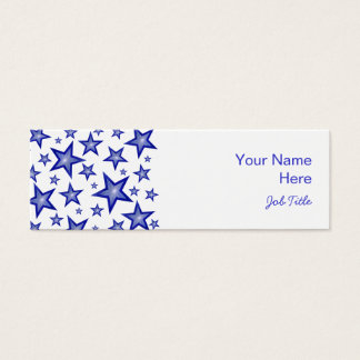 Dark Blue Stars business card side white skinny