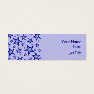 Dark Blue Stars side pale blue skinny Mini Business Card