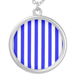 Dark Blue Stripes (Add 2nd Color) Silver Plated Necklace