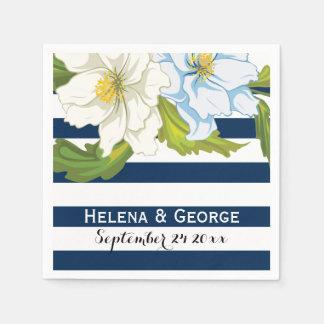 Dark blue stripes & flowers modern floral wedding napkin