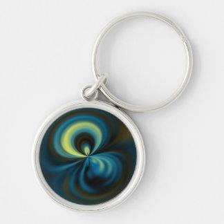 Dark Blue Swirl Candy Abstract Art Keychain
