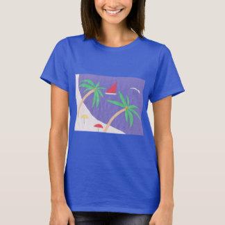Dark Blue T-Shirt with Beach Scene