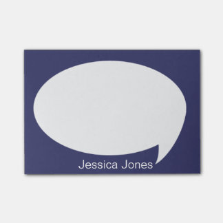 Dark Blue Talk Bubble Rounded Personalized Post-it® Notes