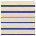 [ Thumbnail: Dark Blue & Tan Colored Lines/Stripes Pattern Fabric ]
