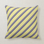 [ Thumbnail: Dark Blue & Tan Colored Lines/Stripes Pattern Throw Pillow ]