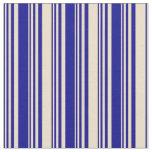 [ Thumbnail: Dark Blue & Tan Colored Pattern of Stripes Fabric ]
