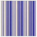[ Thumbnail: Dark Blue & Tan Colored Striped Pattern Fabric ]
