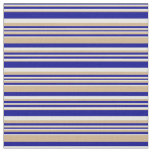 [ Thumbnail: Dark Blue, Tan & Mint Cream Lines Pattern Fabric ]