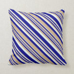 [ Thumbnail: Dark Blue, Tan & Mint Cream Lines Pattern Pillow ]