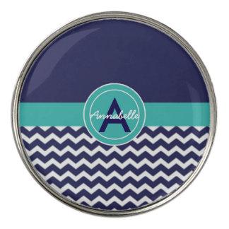 Dark Blue Teal Chevron Golf Ball Marker