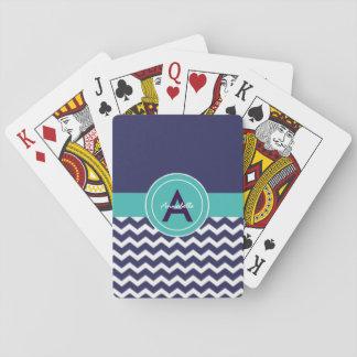 Dark Blue Teal Chevron Playing Cards