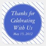 Dark Blue Thank You Sticker & Wedding Favor Label Stickers