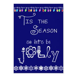 Dark Blue Tis the Season Holiday Party Invitation
