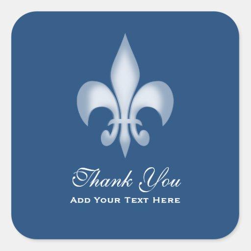 Dark Blue Transparent Fleur de Lis Thank You Sticker