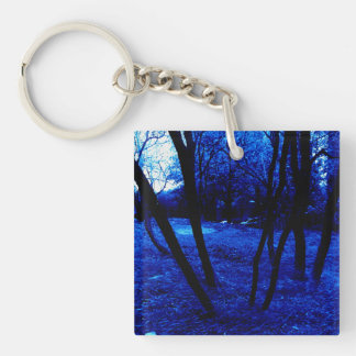 Dark Blue Trees, Square (double-sided) Keychain