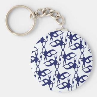 Dark Blue Tribal Lace Basic Round Button Keychain