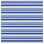 [ Thumbnail: Dark Blue & Turquoise Striped Pattern Fabric ]