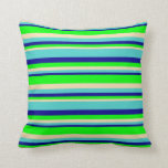 [ Thumbnail: Dark Blue, Turquoise, Tan, and Lime Colored Lines Throw Pillow ]