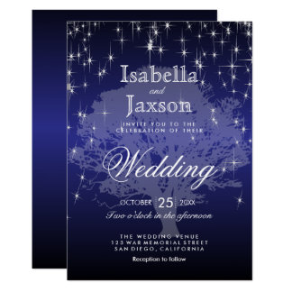 Dark Blue Under the Stars Wedding Invitation