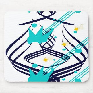Dark Blue Vectors on Snow White Mousepad
