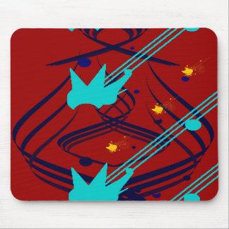 Dark Blue Vectors on Vivid Red Mousepad