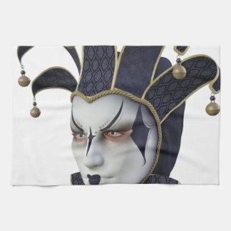 Dark Blue Venetian Carnivale Mask in Profile Kitchen Towel