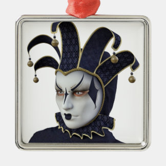 Dark Blue Venetian Carnivale Mask in Profile Metal Ornament