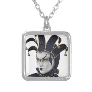 Dark Blue Venetian Carnivale Mask in Profile Silver Plated Necklace