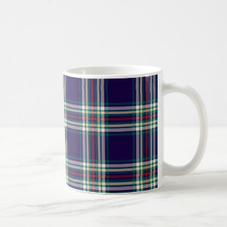 Dark Blue Vintage Plaid Classic White Coffee Mug