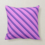 [ Thumbnail: Dark Blue & Violet Lined Pattern Throw Pillow ]