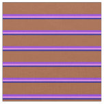 [ Thumbnail: Dark Blue, Violet, Purple, and Sienna Lines Fabric ]