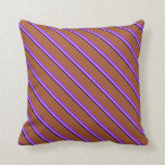 [ Thumbnail: Dark Blue, Violet, Purple, and Sienna Lines Pillow ]