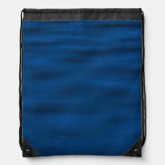 Dark Blue Water Ripples Drawstring Backpack