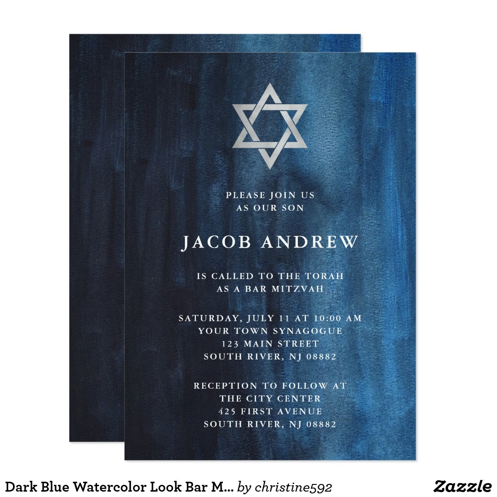 Dark Blue Watercolor Look Bar Mitzvah Invitation