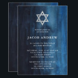 "Dark Blue Watercolor Look Bar Mitzvah Invitation<br><div class=""desc"">These beautiful Bar Mitzvah invitations feature an elegant watercolor look in a stylish shade of dark blue with a Star of David in silver.</div>"