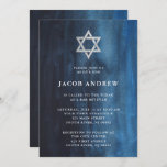 """Dark Blue Watercolor Look Bar Mitzvah Invitation<br><div class=""""desc"""">These beautiful Bar Mitzvah invitations feature an elegant watercolor look in a stylish shade of dark blue with a Star of David in silver.</div>"""