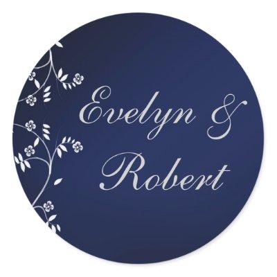 Dark blue wedding stickers by