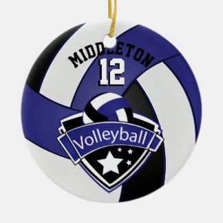 Dark Blue, White & Black Personalize Volleyball Ceramic Ornament
