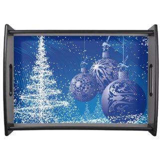 Dark Blue & White Christmas Tree & Ornaments Service Tray