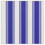 [ Thumbnail: Dark Blue & White Colored Stripes/Lines Pattern Fabric ]
