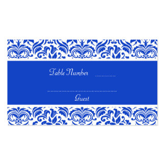 Dark Blue & White Damask Wedding Table Place Cards Business Card Templates