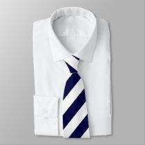 Dark Blue & White Diagonally-Striped Tie