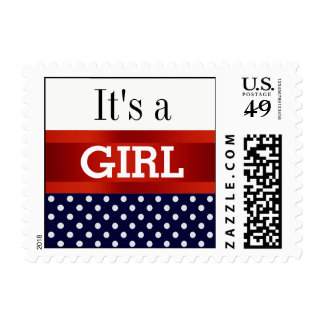 Dark Blue White Dots w Red Gender Reveal Girl Postage Stamps
