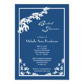 Dark Blue White Fleur de Lis Modern Bridal Shower Card