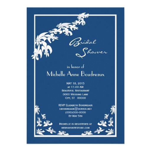 Dark Blue White Fleur de Lis Modern Bridal Shower Personalized Announcements
