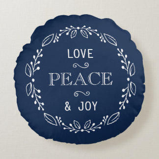 Dark Blue White Floral Holiday Peace Typography Round Pillow